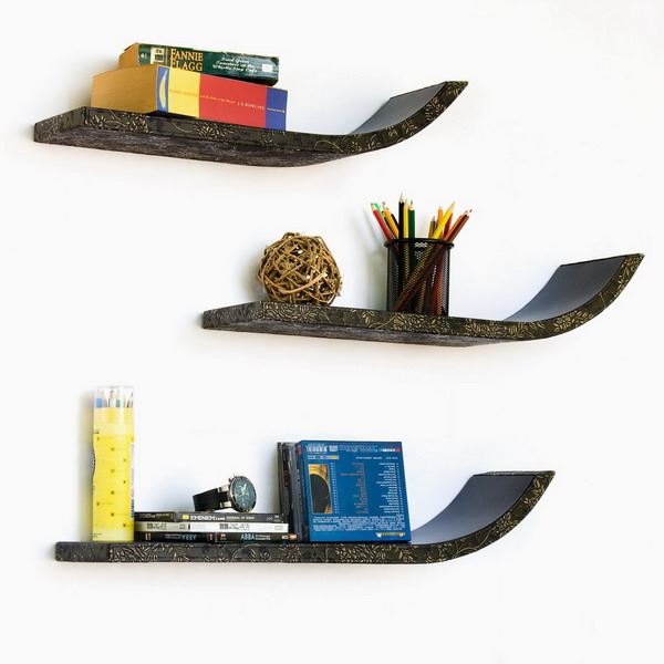 Trista - [Floral Design] Stylish J Type Leather Wall Shelf / Bookshelf / Floating Shelf (Set of 3)