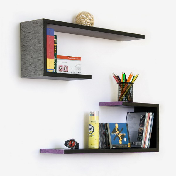 Trista - [Glaring Zebra Stripes] Crutch-Shaped Leather Wall Shelf / Bookshelf / Floating Shelf