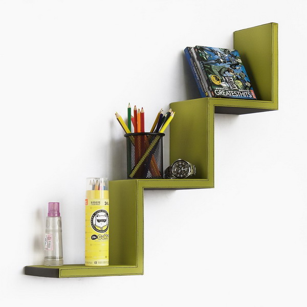 Trista - [Moss Green] Ladder-Shaped Leather Shelf / Bookshelf / Floating Shelf