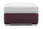 Bond Ottoman White and Maroon