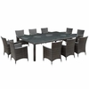 Al Fresco Outdoor Wicker Patio 11 Piece Dining Set