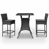 Pub Table and Two Chair Set in Black Rattan with Black Cushions