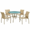 Outdoor Wicker Patio Dining Table and Flaxen Chair Set