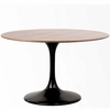 "48"" Eero Saarinen Style Tulip Table with Walnut Top Black"