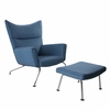 HANS J WEGNER Style WING CHAIR & OTTOMAN In Wool
