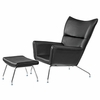 Hans J Wegner Style Wing Chair & Ottoman In Leather
