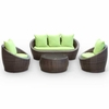 Carmel Outdoor Rattan 4 Piece Set|Brown / Green