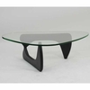 Isamu Noguchi Style Triangle Coffee Table with Wood Base Black