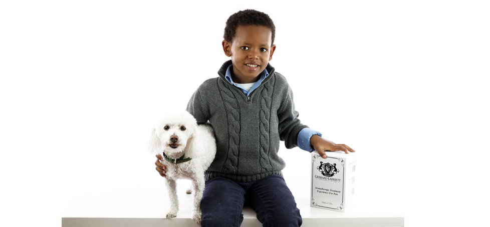 Boy and with dog and aromatherapy pet products