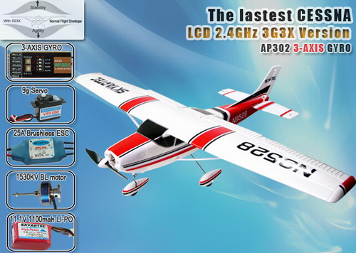 2.4GHz Skyartec Cessna Brushless LCD R/C Airplane with 3G3X Technology