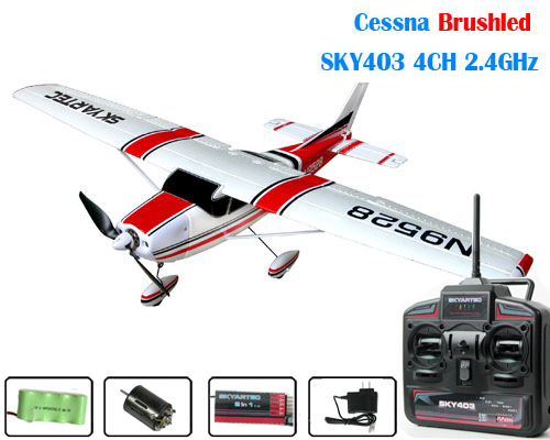 2.4GHz Skyartec Cessna Brushed 4CH R/C Airplane with SKY403 TX