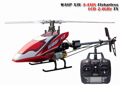 2.4G Skyartec WASP X3V 3-AXIS Flybarless LCD RTF Helicopter