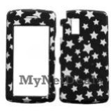 White Star/ Black (Sparkle) Snap-On Cover Case Protector Faceplate for LG Vu CU920/ CU915