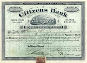 Citizens Bank of Michigan City, Indiana Stock 1900