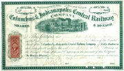 Columbus & Indianapolis Central RW Stock 1866