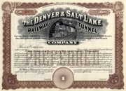Denver & Salt Lake RR Tunnel Stock 190_