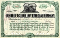 Dubuque & Sioux City RR Stock 1907