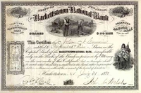 Hackettstown National Bank Stock 1880s