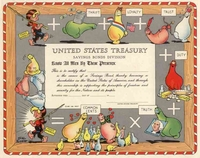 U.S. Treasury Promotional Certificate with Al Capp Cartoon Characters 1949