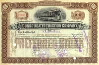 Consolidated Traction Stock issued to Peter Widener 1899