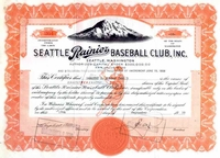 Seattle Rainier Baseball Club Stock 1939