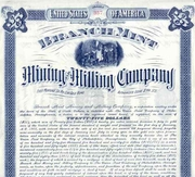Branch Mint Mining & Milling Bond 1903