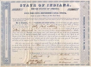 State of Indiana Wabash & Erie Canal Bond 1847