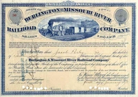 Burlington & Missouri River RR Stock 1873