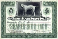 Farmers Deposit National Bank Stock 1917