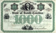 State of South Carolina $1000 Bond signed by R. Scott 1869