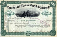 Oregon & Transcontinental Stock Signed by H Villard 1881