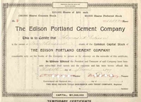 Edison Portland Cement Stock signed by Thomas Edison 1899