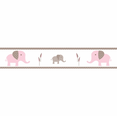 Elephant Pink Wallpaper Border