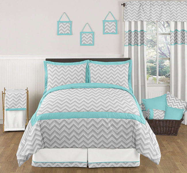 zig zag turquoise and gray chevron full queen bedding collection