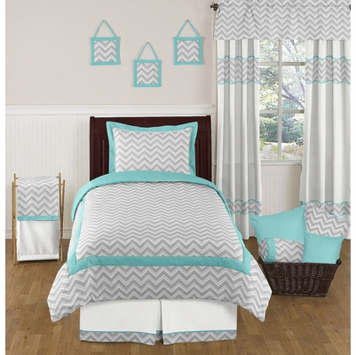 Zig Zag Turquoise and Gray Chevron Twin Bedding Collection