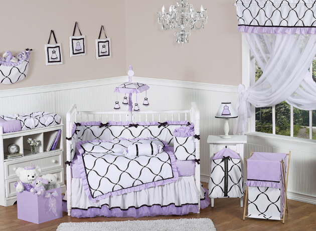 Princess Black White And Purple Crib Bedding Collection