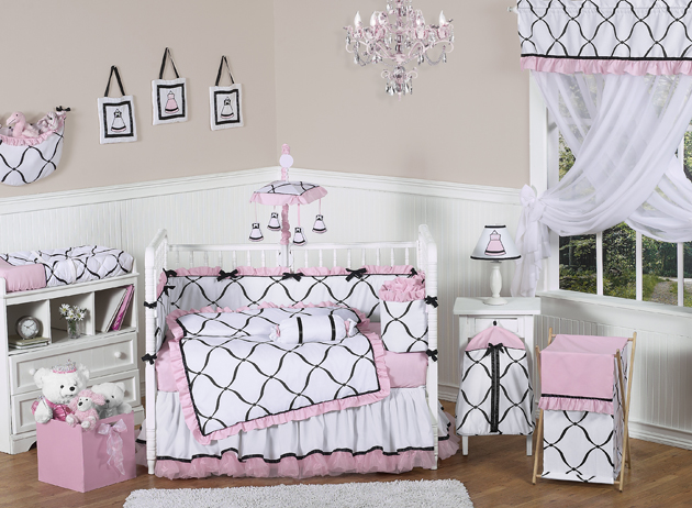 Princess black white and pink crib bedding collection