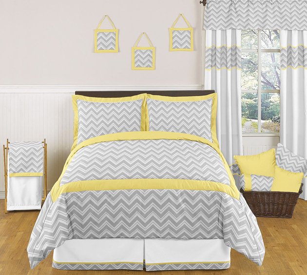 zig zag yellow and gray chevron full queen bedding collection