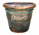 "Copper Glass - Large Garland Rolled Rim Planter 24"" - Antique Copper Finish"