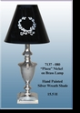 "Jeanne Reed's - Brass Lamp ""Plaza"" - silver wreath painted shade"