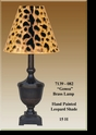 "Jeanne Reed's - Brass Lamp ""Genoa"" - leopard painted shade"