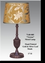 "Jeanne Reed's - Metal Lamp ""Verona"" - gold/silver leaf painted shade"