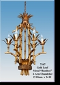 "Jeanne Reed's - Gold Leaf Metal ""Bamboo""6 Arm Chandelier"