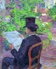 Art - Oil Paintings - Masterpiece #4175 - Henri Toulouse-Lautrec - Desire Dihau Reading a Newspaper in the Garden - Gallery Quality