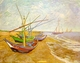 Art - Oil Paintings - Masterpiece #4199 - Vincent Van Gogh - Fishing Boats on the Beach at Saintes-Maries - Gallery Quality