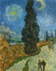 Art - Oil Paintings - Masterpiece #4245 - Vincent Van Gogh - Road with Cypress and Star - Gallery Quality