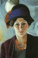 Art - Oil Paintings - Masterpiece #4270 - August Macke - Portrait of the Artist's Wife Elisabeth with a Hat - Gallery Quality