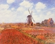 Art - Oil Paintings - Masterpiece #4358 - Claude Monet - Tulip Fields with Windmill - Museum Quality