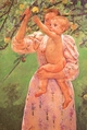 Art - Oil Paintings - Masterpiece #4436 - Mary Cassatt - Baby Reaching for an Apple - Gallery Quality