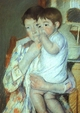 Art - Oil Paintings - Masterpiece #4440 - Mary Cassatt - Mother and Child against a Green Background - Gallery Quality